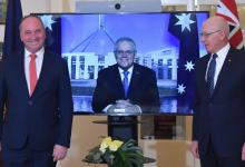 Photo of Barnaby Joyce sworn in as deputy prime minister as Scott Morrison watches via video link