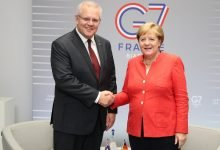 Photo of Scott Morrison and Angela Merkel discussed their mutual commitment to ambitious action on climate change